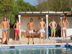 Six naked teens by the pool...